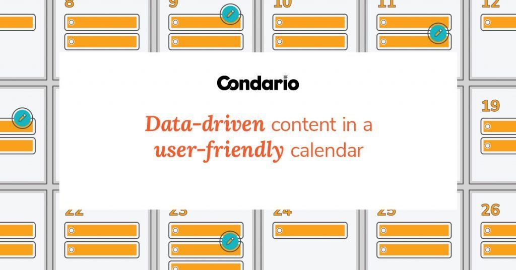 Text-based graphic promoting Condario, a data-driven content calendar