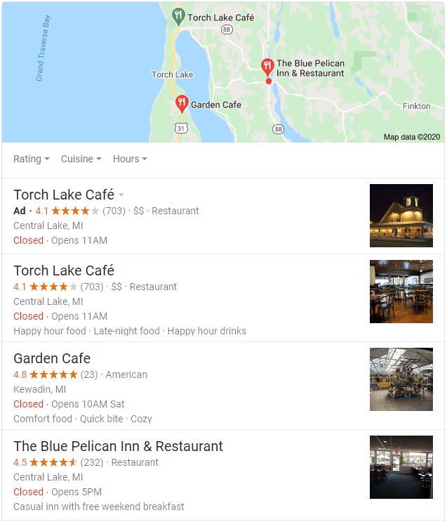 Google map results for restaurants in Torch Lake Michigan