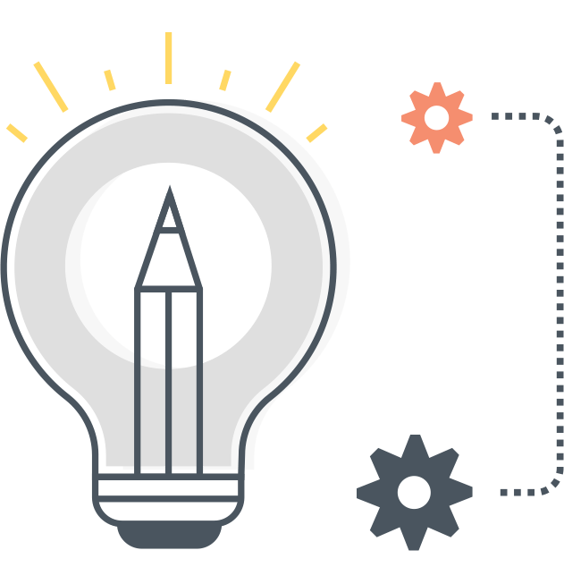 Lightbulb graphic with gears demonstrates going from idea to execution