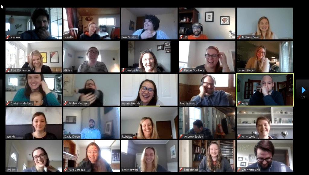 25 employees on a video call screen while working remotely