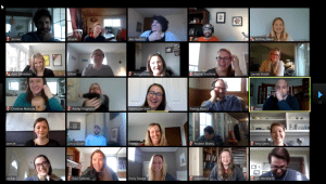 Screenshot of Employees on a Zoom call while working remotely