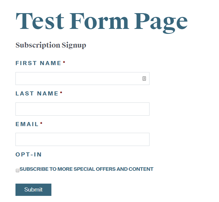Subscription form test page