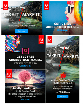 Display ads for Adobe Stock Images