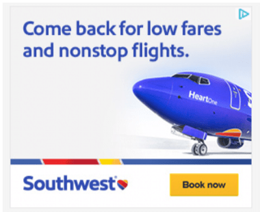Display ad for Southwest Airlines