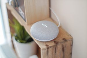 Round smart home speaker, which is an example of why blogging is important for voice search results