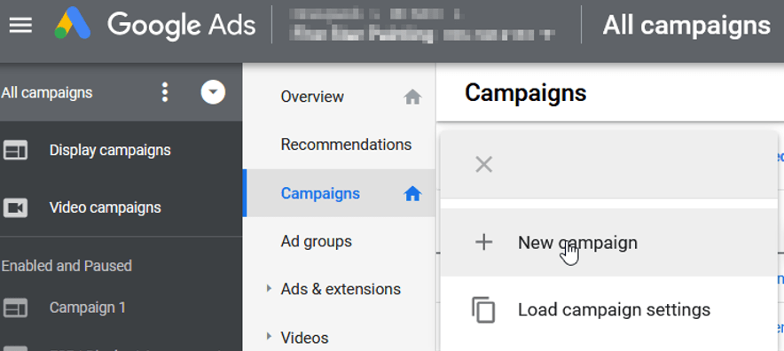 Button for creating new campaign in Google Ads