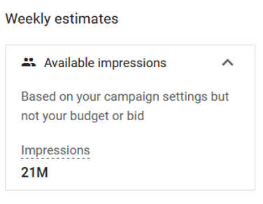 Screenshot from Google Ads shows there are 21M available impressions based on campaign settings but not your budget or bid
