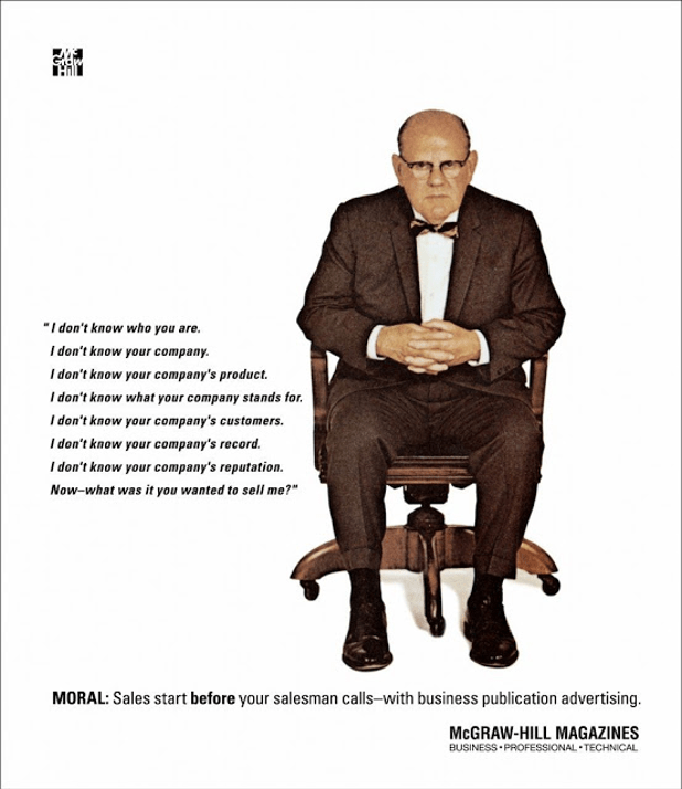 Famous old McGraw-Hill advertisement shows old man in a chair with quotation