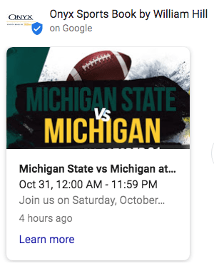 a google my business post with a designed image featuring a football and michigan state vs michigan
