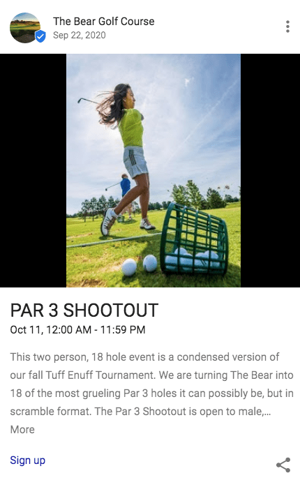 a google my business post by a golf course with an image of a woman hitting golf balls on a clear sunny day while a basket of golf balls tumbles over in the foreground and the text reads par three shootout