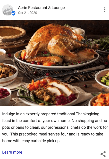 a google my business post for a restaurant with an image of a beautiful turkey feast