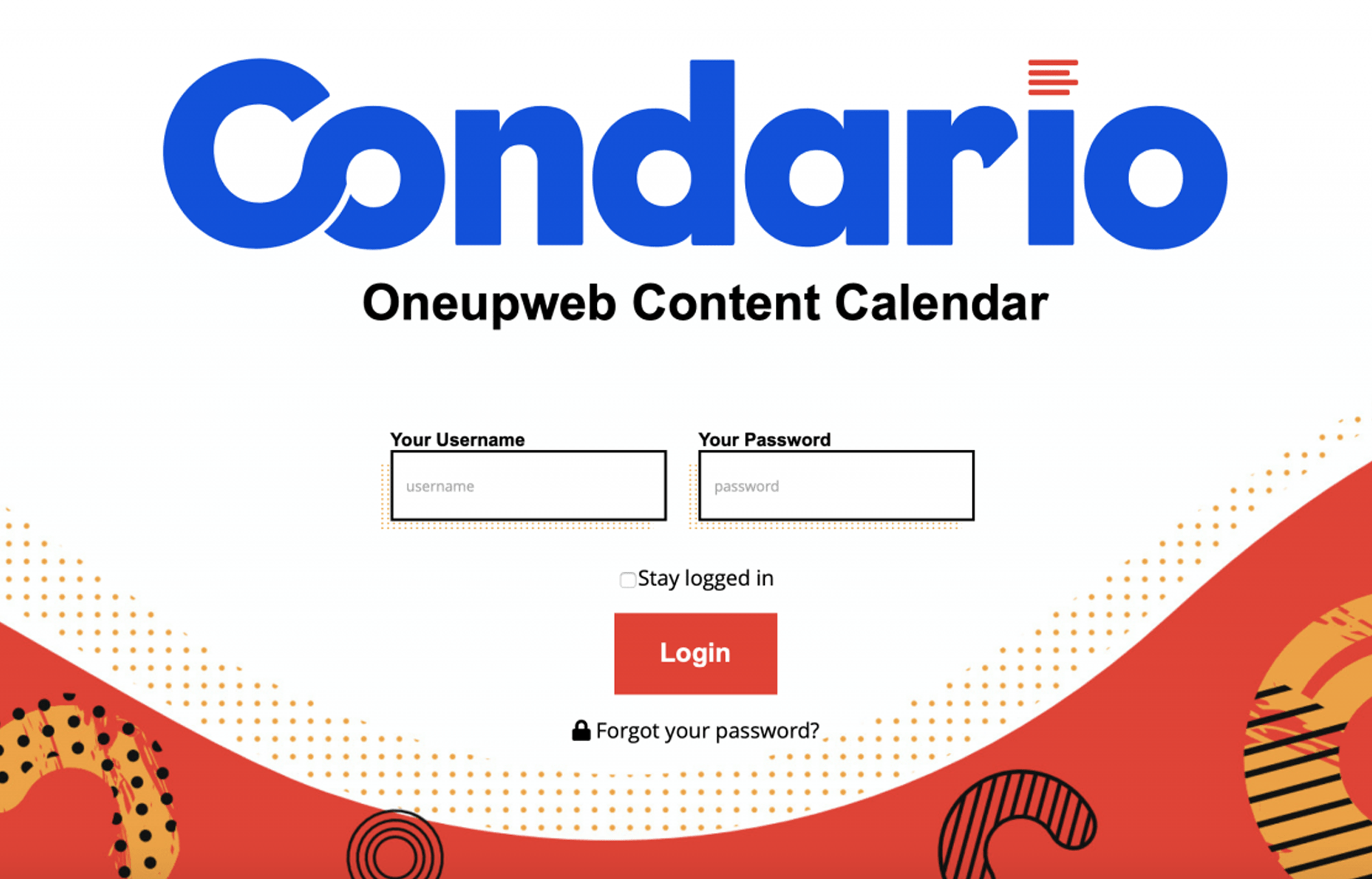 Example of Condario content calendar login page