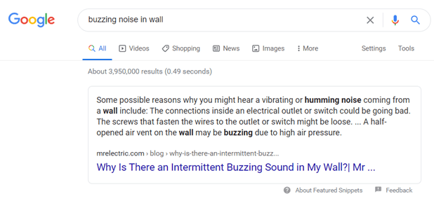 Example of a featured snippet for query