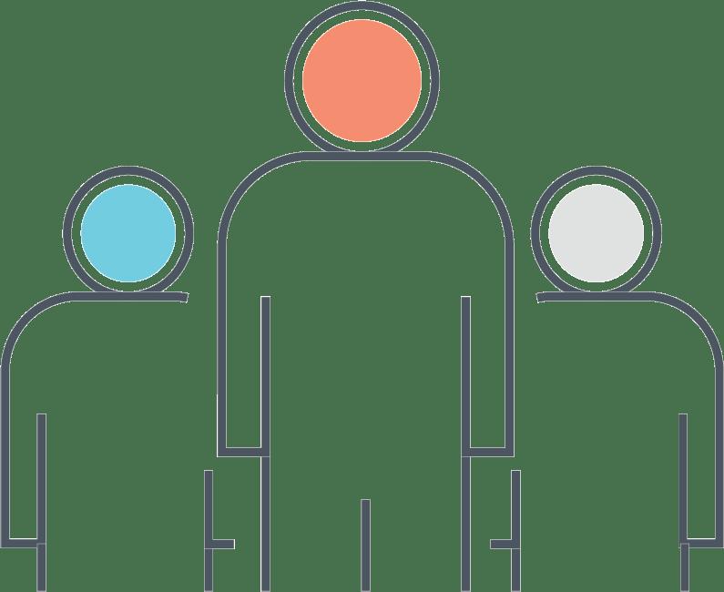 Simple illustration of three human figures