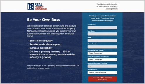 a screenshot of the real property management landing page option a