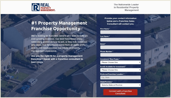 the real property management franchise development landing page to show what was changed