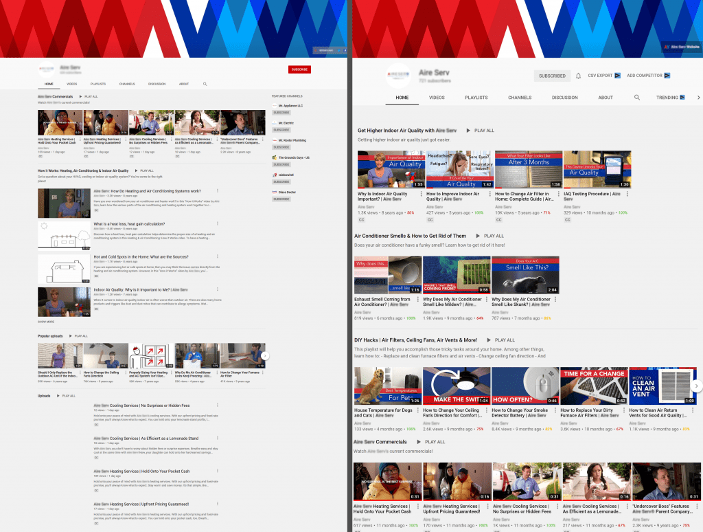 before and after shot of a youtube channel showing improvement in appearance with oneupweb youtube marketing services