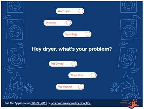 a graphic image showing Mr Appliance's dryer diagnostic tool