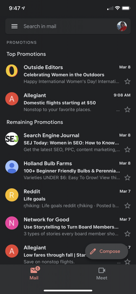 dark mode on a phone email program