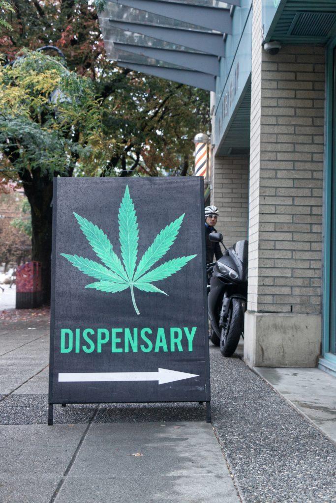 a sign for a marijuana dispensary