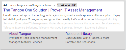 an example of a tangoe search ad