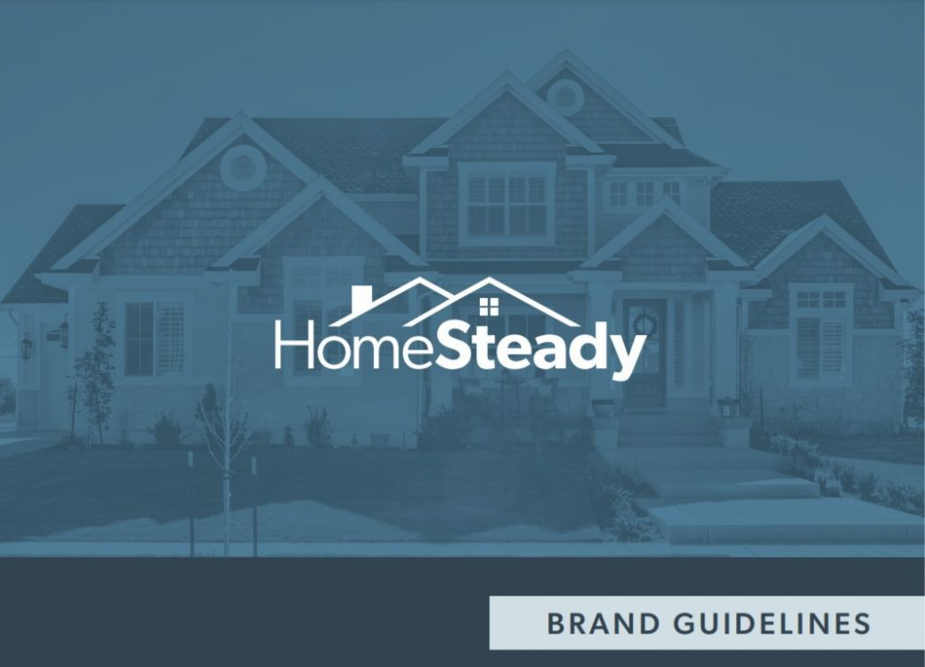 The front cover of HomeSteady's brand guide created by Oneupweb