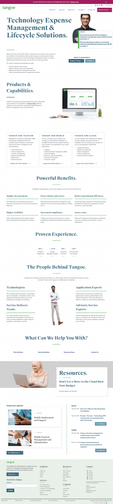 the tangoe homepage of the website designed and developed by oneupweb