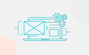 icons showing email, gears and a website all working together