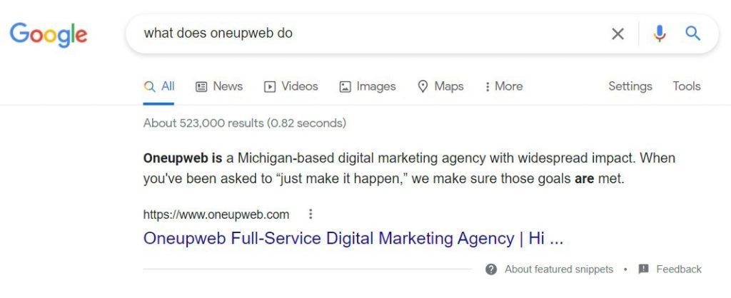 """Example of a Google featured snippet in search results for the query """"what does Oneupweb do."""""""
