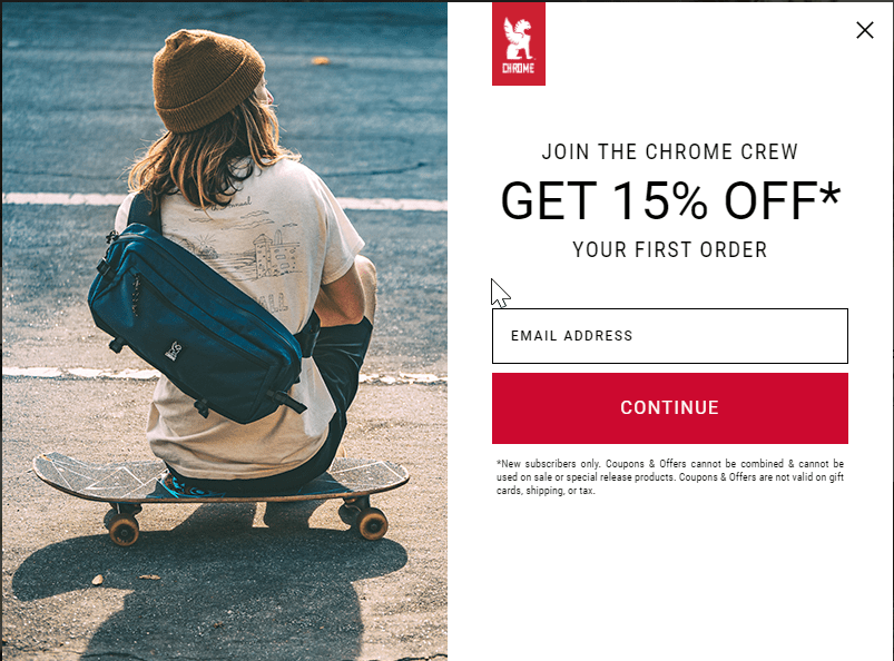 an email offer for 15% off